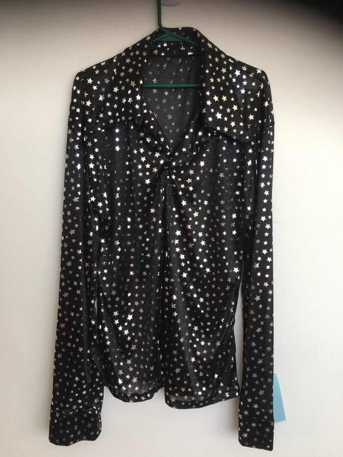 COSTUME RENTAL - X18 Disco Shirt, Black Starlight