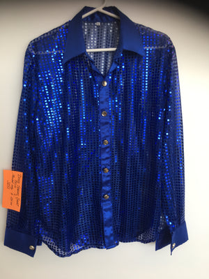 COSTUME RENTAL - X36 Disco Shirt, sequin blue Large