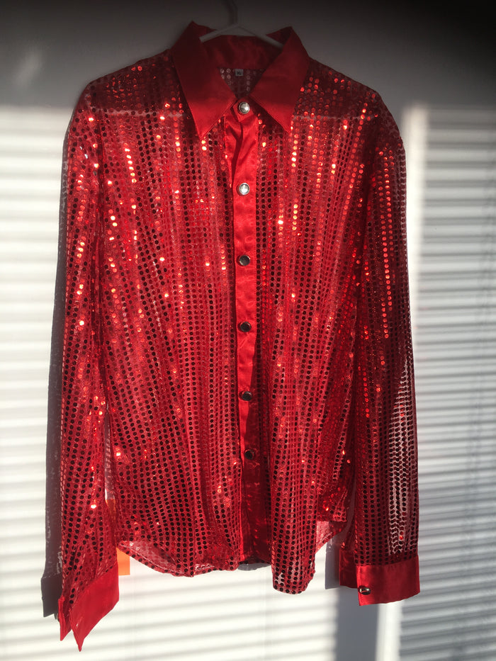 COSTUME RENTAL - X32 Disco Shirt, Sequin Red Large