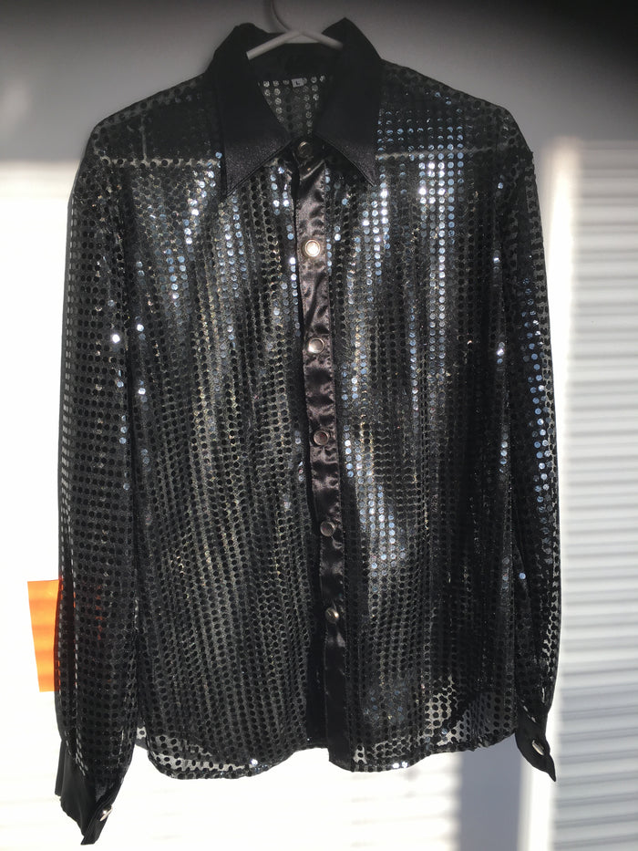 COSTUME RENTAL - X29 Disco Shirt, Sequin Black Large
