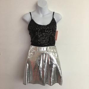 COSTUME RENTAL - X317 1960's Silver Mini Retro Skirt