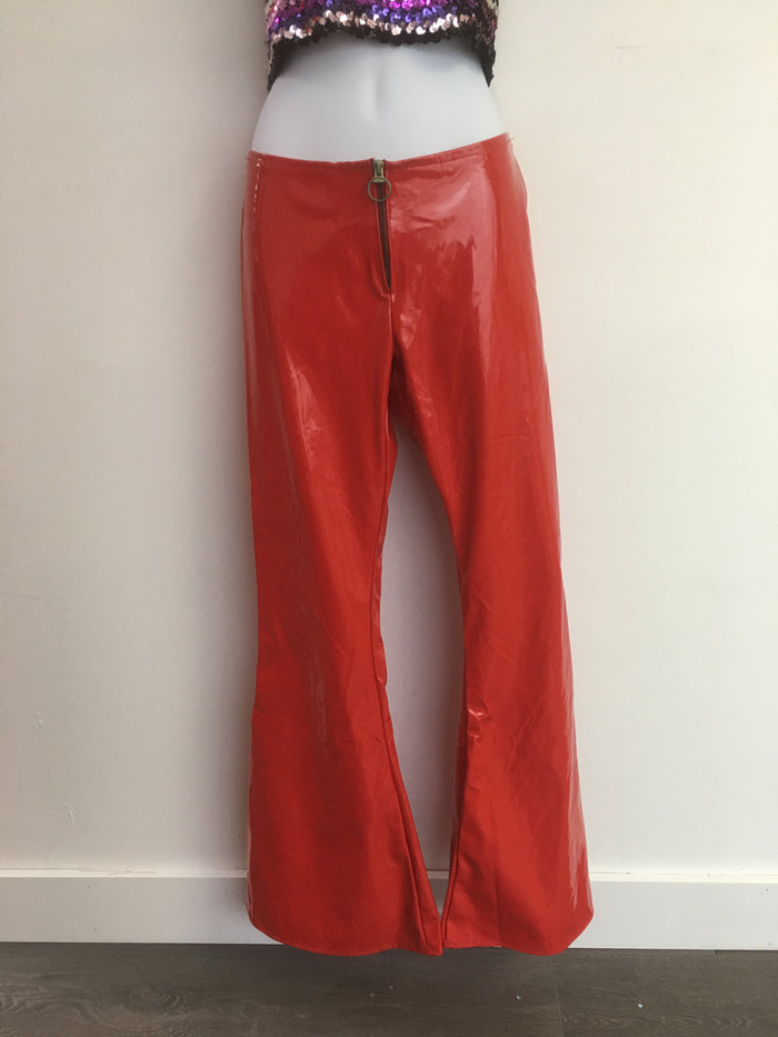 COSTUME RENTAL - X324 Shiny Red Disco Bellbottoms