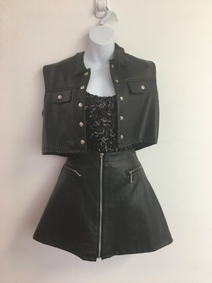 COSTUME RENTAL - Y5 1980's Leather Biker Vest and hat