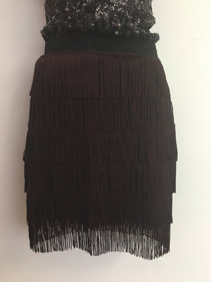 COSTUME RENTAL - X315 1960's Black Fringed Retro Skirt