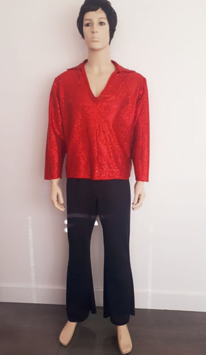 COSTUME RENTAL - X39A Disco Shirt, Sequin Red