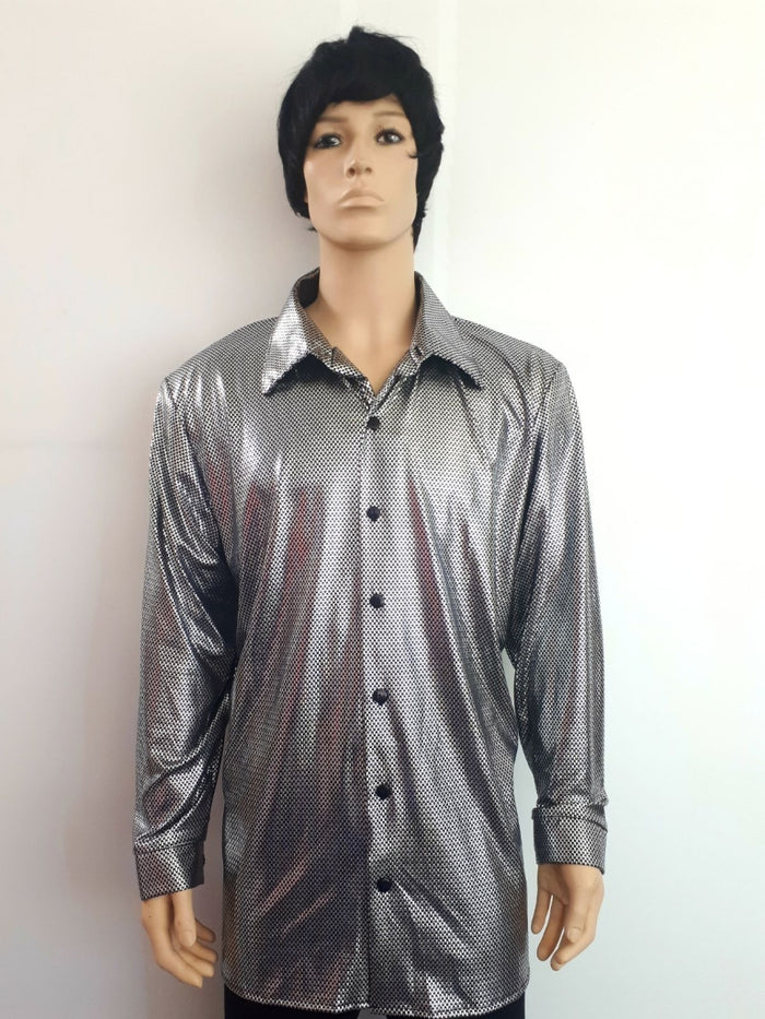 COSTUME RENTAL - X13 Disco Shirt, Silver Snake