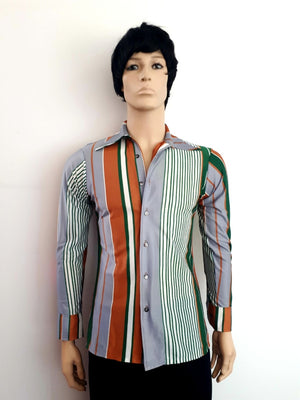 COSTUME RENTAL - X96 1960's Brown and Green Striped Shirt
