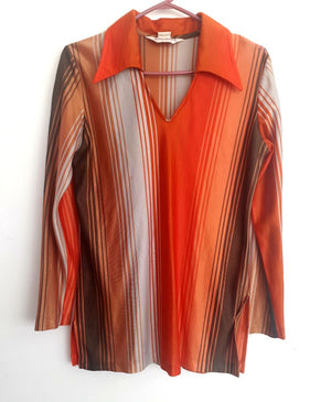 COSTUME RENTAL - X95 1960's Men's orange striped shirt
