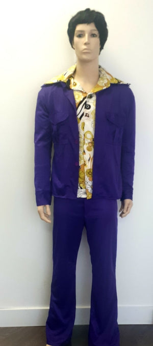 COSTUME RENTAL - X64 1970's Leisure Shirt 3 pcs Purple