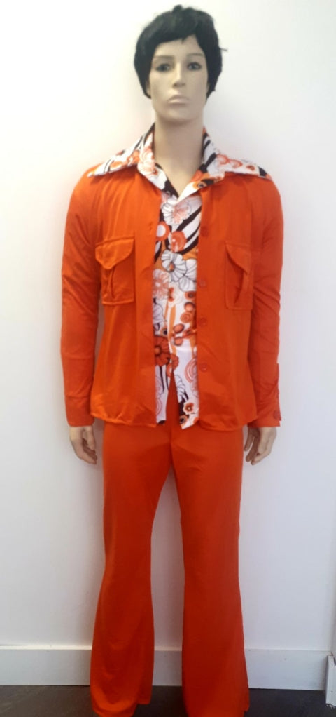 COSTUME RENTAL - X66 1970's Leisure Shirt 3 pcs Orange