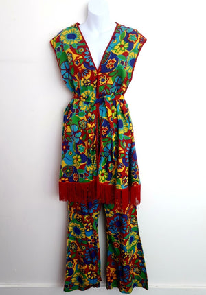 COSTUME RENTAL - X91 1960's Hippie Flower Child 3 pcs - vest, pants, headband  small