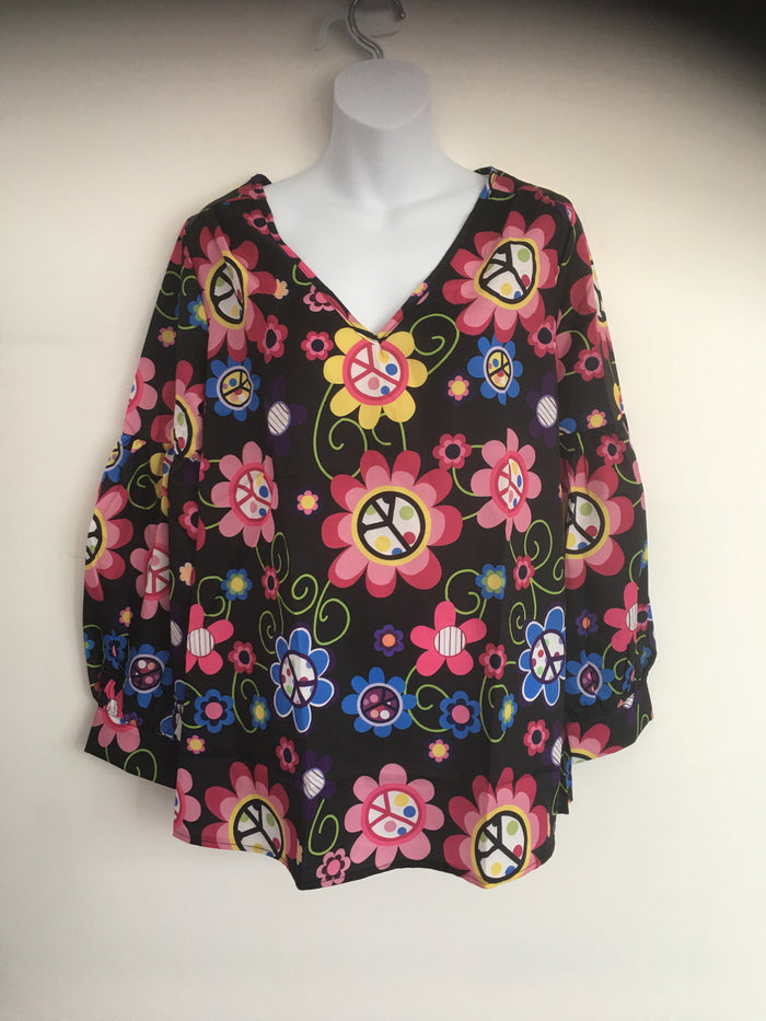 COSTUME RENTAL - X298 1960's Floral Black Top