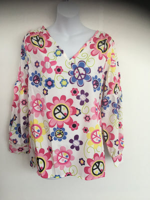 COSTUME RENTAL - X299 1960's Floral White Top