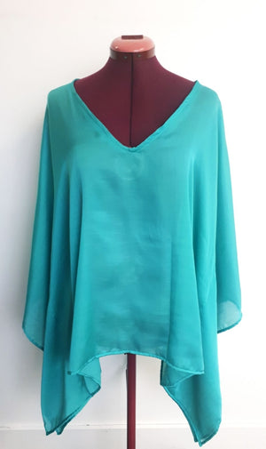 COSTUME RENTAL- X236C Retro Jade Kaftan Blouse