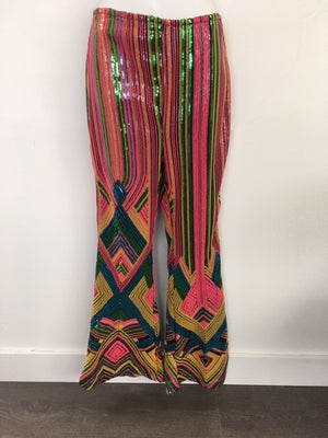 COSTUME RENTAL - X253a Sequin Multicoloured Striped Disco Pants