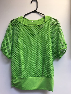 COSTUME RENTAL - Y213 1980's Mesh Shirt with attached Tank Top