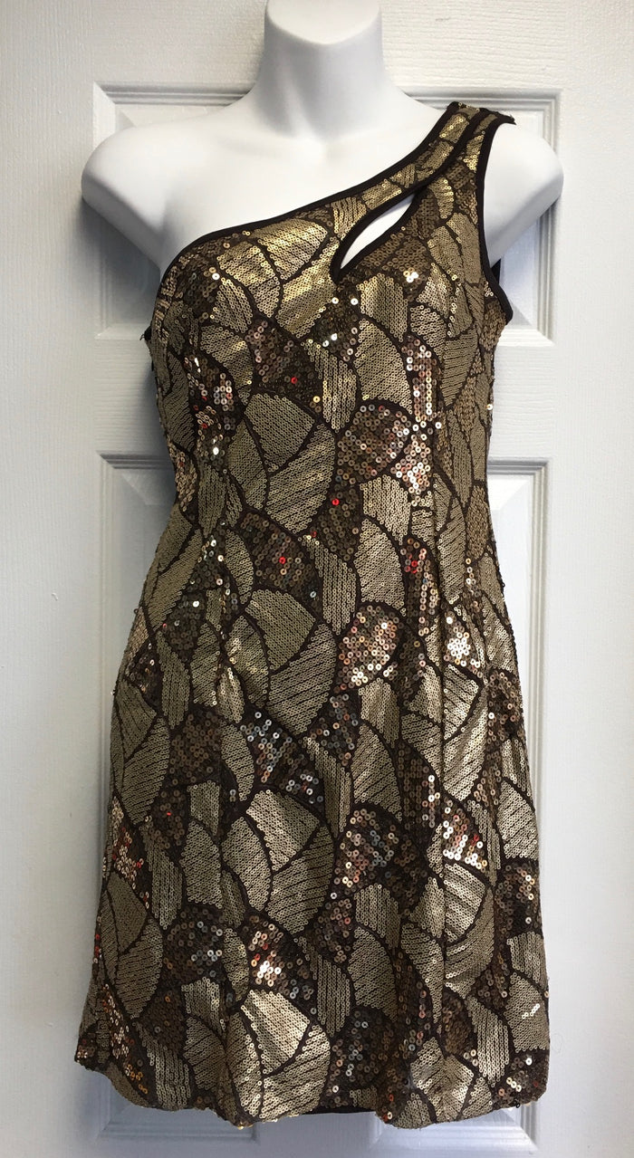 COSTUME RENTAL - X237A 1970's Dress, Gold Sequin