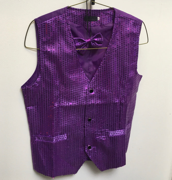 COSTUME RENTAL - X1F Disco Sequin Vest with Tie