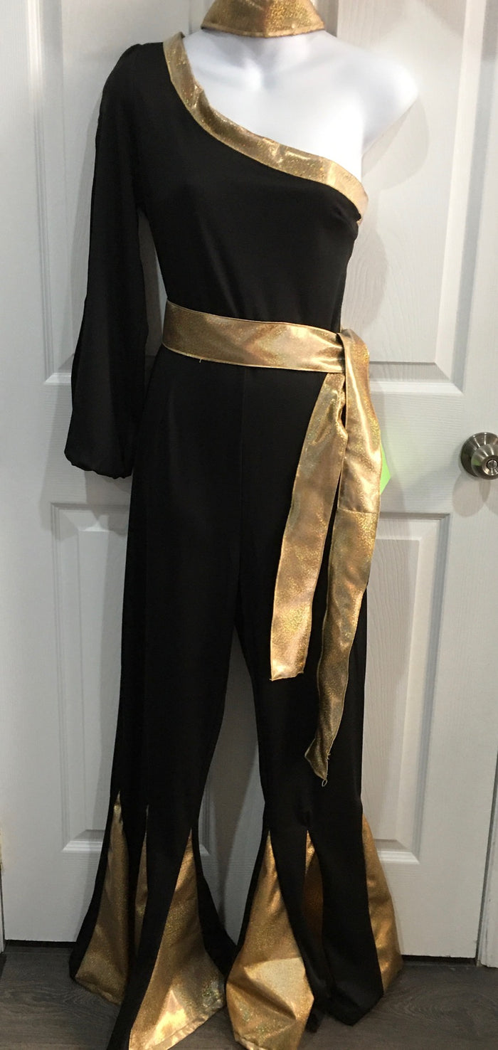 COSTUME RENTAL - X305 Jumpsuit, Black disco with gold trim