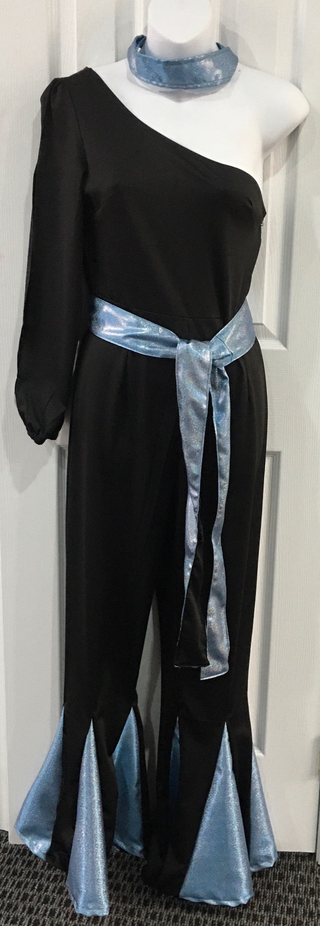 COSTUME RENTAL - X306 Jumpsuit, Black disco with blue trim