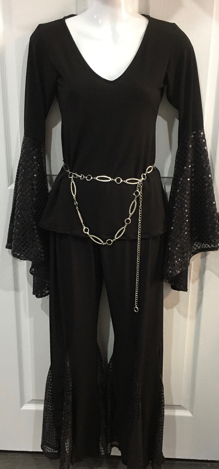 COSTUME RENTAL - X262 Boogie Nights Black Sequin Outfit