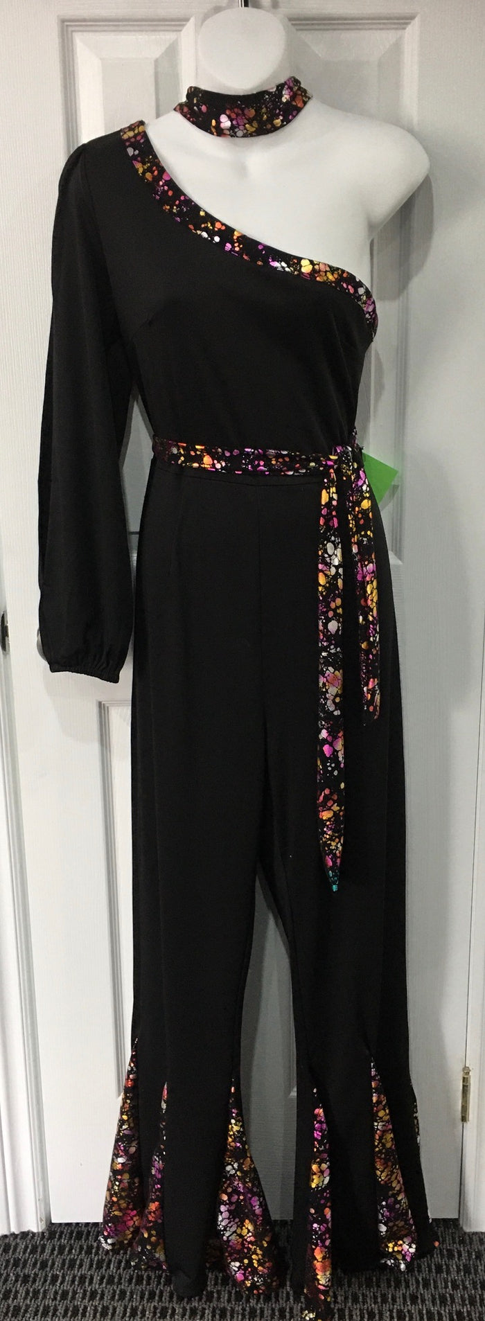 COSTUME RENTAL - X268 1970's Jumpsuit, Black Disco with multicolored trim