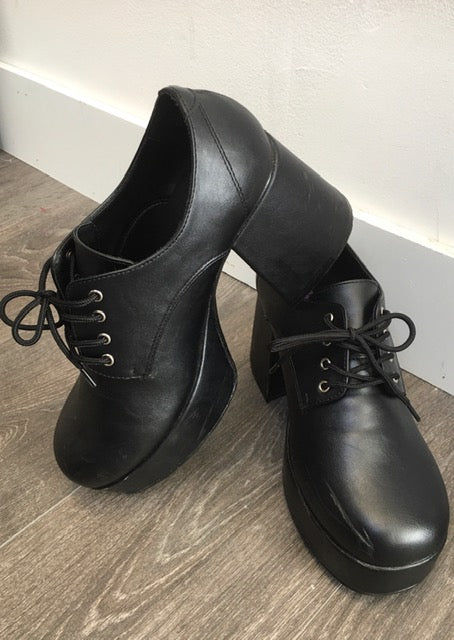 SHOE RENTAL:  Z47B - Black Platform Shoes Rental - Small 8-9