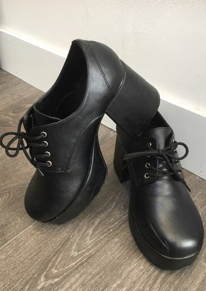 SHOE RENTAL:  Z47F - Black Platform Shoes Rental - MEDIUM 10-11