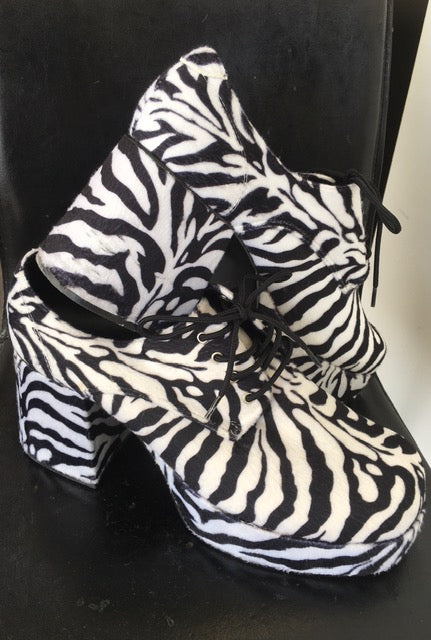 SHOE RENTAL:  Z47A - Zebra Print Platform Shoes Rental - Large 11-12