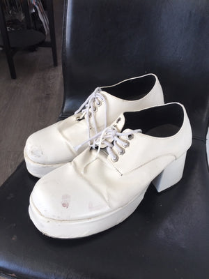 SHOE RENTAL - Z46 White Disco Men's Platforms Size 10