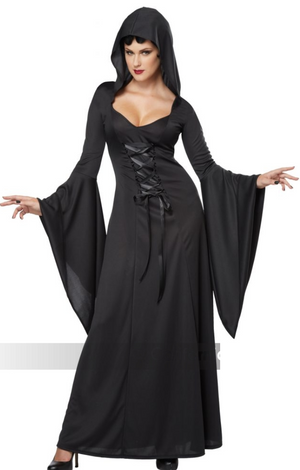 ADULT COSTUME: Hooded Robe Black