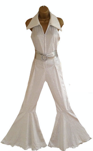 COSTUME RENTAL - X284 1970's Jumpsuit, white Glitter with belt