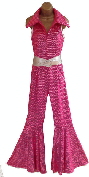 COSTUME RENTAL - X283 1970's Jumpsuit, Pink Glitter with belt