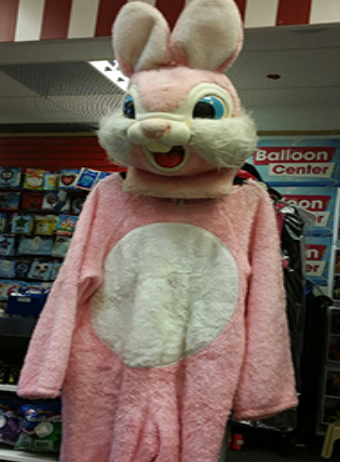 COSTUME RENTAL - R156 Pink Bunny Mascot - 6 pieces