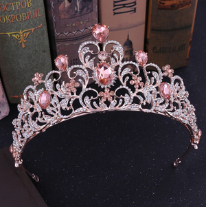 TIARA: Baroque Luxury Crystal Leaf Tiara PINK