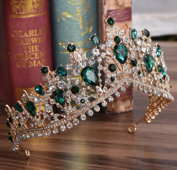 Tiara: Baroque Rhinestone Tiara Green and Gold