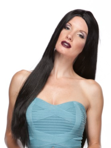 "WIG: 26"" Parted Black Straight WIg"