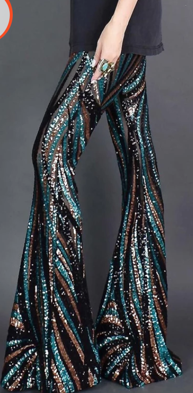 COSTUME RENTAL - X253h Sequin Disco Pants  -Striped
