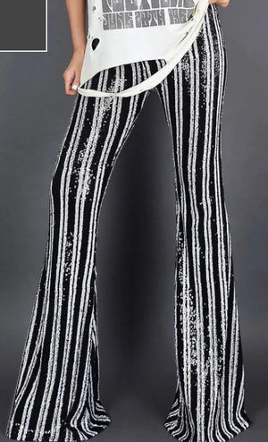 COSTUME RENTAL - X253b Sequin Striped Disco Pants Rental