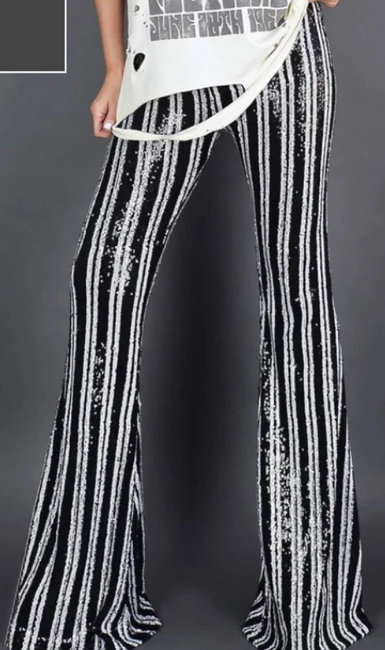 COSTUME RENTAL - X253g Sequin Disco Pants  -Striped