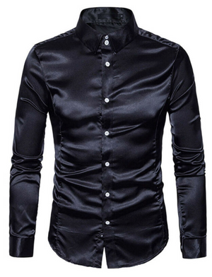 COSTUME RENTAL - X28A Disco Shirt, Black Satin