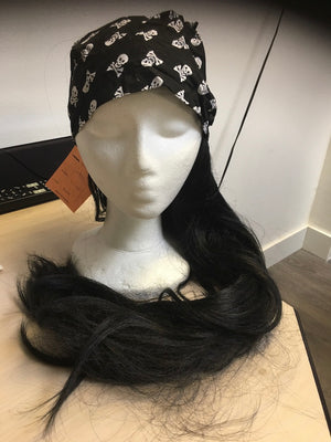 WIG: Black pirate wig with bandana