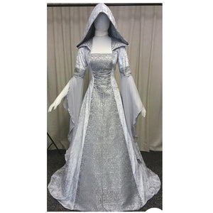 COSTUME RENTAL - A18 Silver Hooded Mystery Maiden 1pc