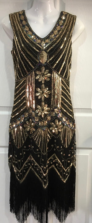 COSTUME RENTAL - J10 1920's Great Gatsby Dress Gold