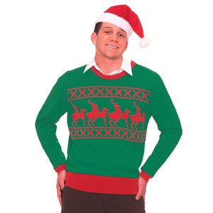 ADULT COSTUMES:  Sweater - Reindeer Games Large