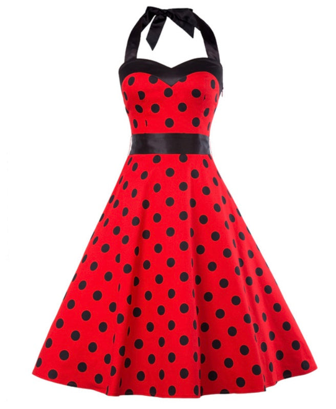 COSTUME RENTAL - J43 1950's Dress, Red Polka Dot,