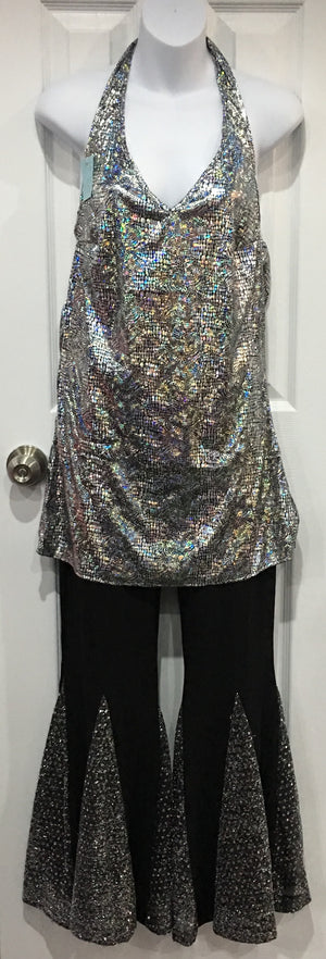 COSTUME RENTAL - X239 Blouse, Halter Silver Holographic