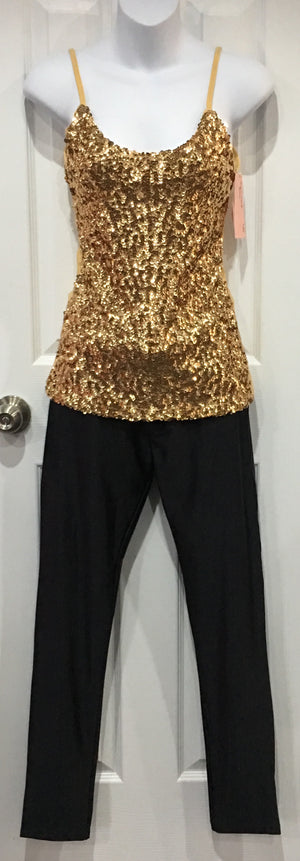COSTUME RENTAL - X250 Disco Tank, Sequin Gold