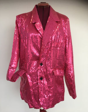 COSTUME RENTAL - X72 Disco Jacket, Pink Sequin XL