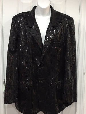 COSTUME RENTAL - X73 Disco Jacket, Black Sequin XL